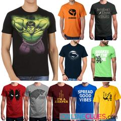 London Looks Men's 10 Round-Neck Printed T-Shirts!
