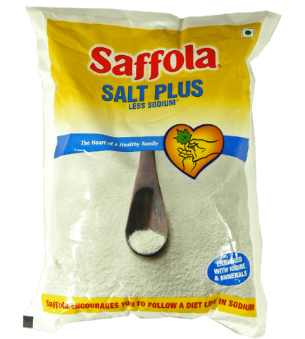Saffola Salt - Less Sodium, 1 kg Pouch