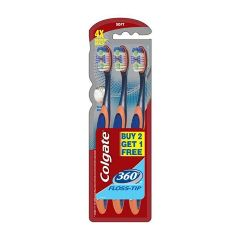 Colgate Tooth Brush - 360 Floss-Tip, 3 pcs ( Buy 2 Get 1 Free )