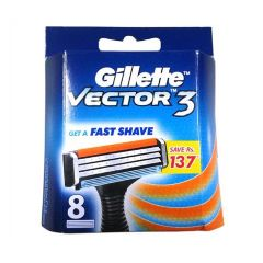 Gillette Vector 3 - Manual Shaving Razor Blades (Cartridge), 8 pcs Carton