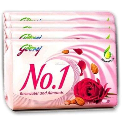 Godrej No 1 Bathing Soap (Rosewater & Almonds) , 100 g Pouch ( Pack of 4 )