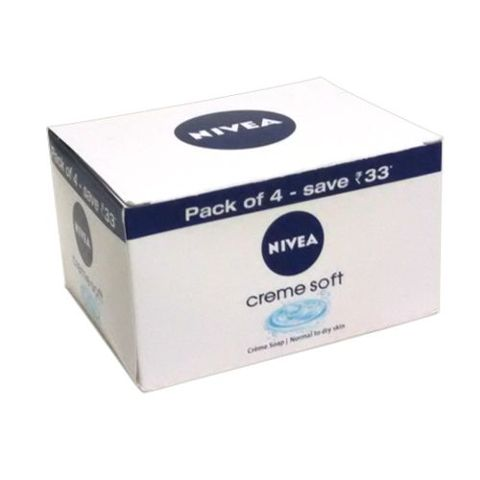 Nivea Creme Soft Soap - Dry Skin, 125 gm Carton ( Pack of 4 )