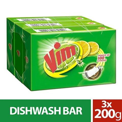 Vim Dishwash Bar, 200 gm ( Pack of 3 )