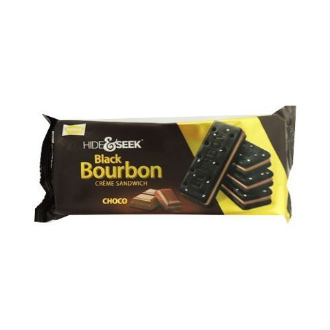Parle Hide & Seek Black Bourbon Cream Sandwich - Choco, 120 gm Pouch