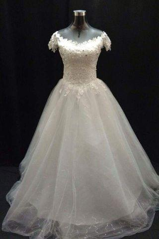 A-line wide neck ivory wedding gown