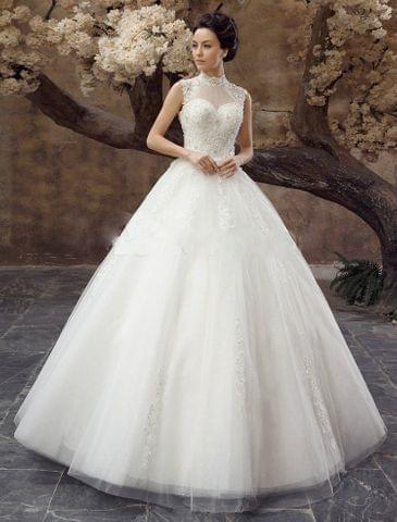 A-Line High neck organza wedding dress with beautiful beads and sparkly crytals