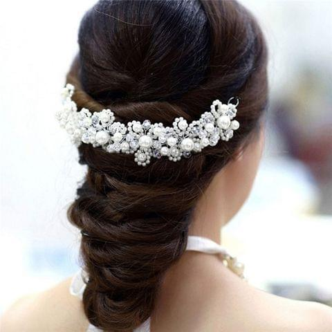 White crystal pearl wedding hair accessories