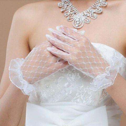 Short simple lace wedding gloves