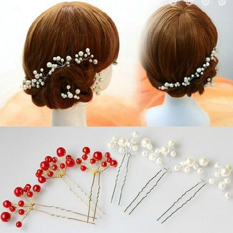 White pearl flower hairpins