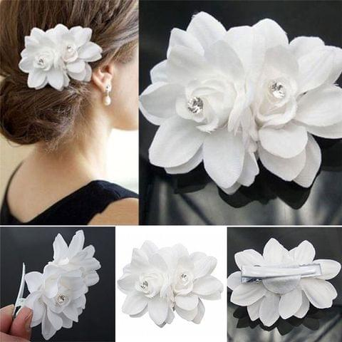 Double white flower hair clip