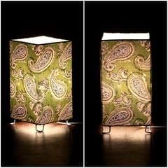 Green Paisley Shortie Square Table Lamp