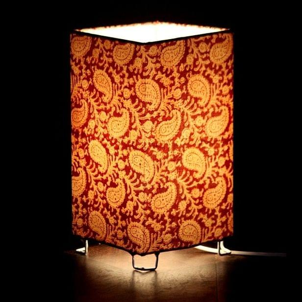 Red Paisley Shortie Square Table Lamp