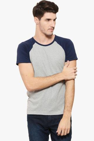 RIGO Grey Tee Navy Raglan Short Sleeve
