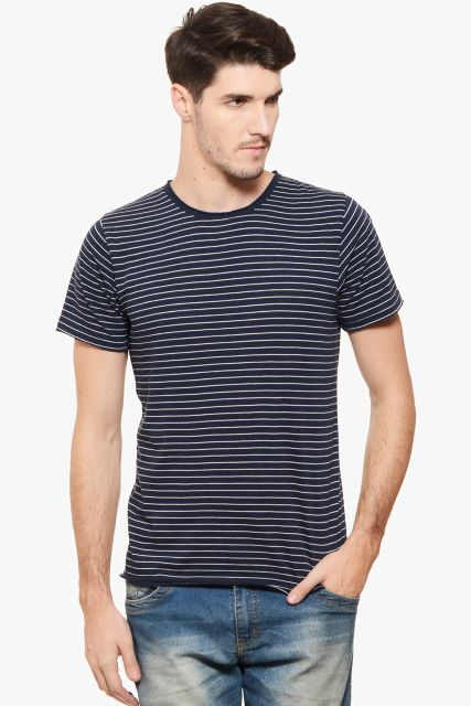 RIGO Navy White Stripe Half Sleeve Tee