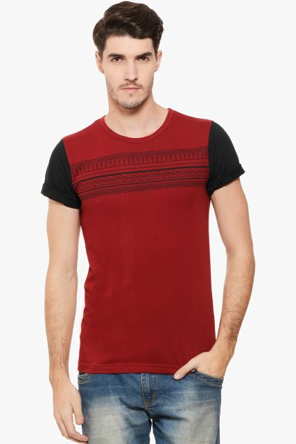 RIGO Maroon Tshirt Abstract Print Half Sleeve Tee