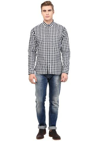 White and Black Gingham Check Shirt