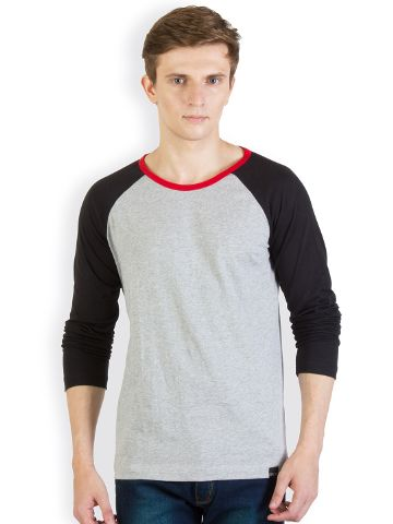 RIGO Grey Tshirt black  Raglan with Red Neck