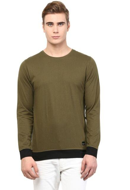 RIGO Army Green T shirt Black Cuff