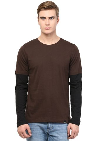 RIGO Cool Brown Tee with Black Sleeve