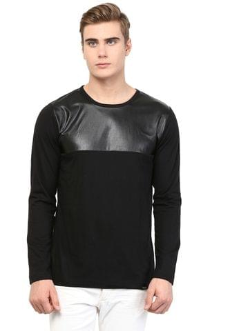 RIGO Black T shirt Faux Leather Yoke