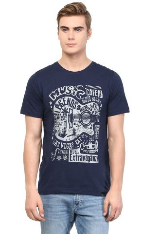 RIGO Navy Music Caf� Printed Tee Short