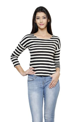 Rigo Black And Off White Striped Drop Shoulder Top
