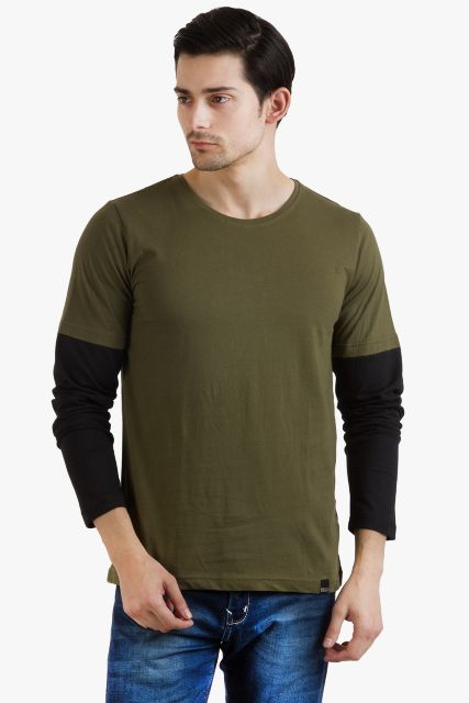 RIGO Cool Army Green Tee Black Sleeve