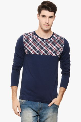 RIGO Navy Tee Check Yoke Tee Full Sleeve
