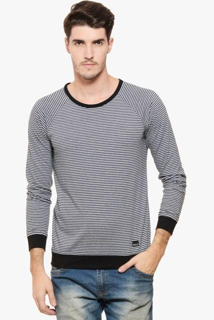 RIGO Grey Striped Raglan T Shirt Black Cuff