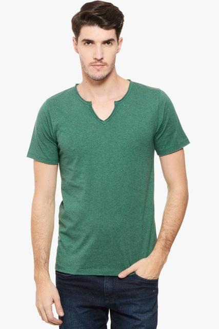 RIGO Green Melange Raw V Neck Tee Short Sleeve