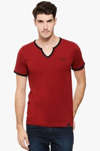 RIGO Maroon Raw V  Neck Black Detail Short Sleeve