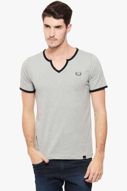 RIGO Grey Melange Raw V  Neck Black Detail Short Sleeve