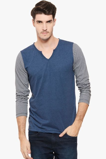 RIGO Blue Melange Stripe Sleeve V  Neck Full Sleeve