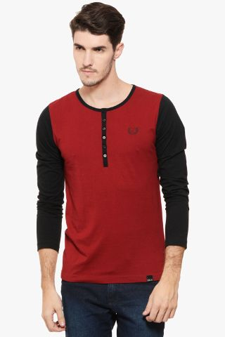 RIGO Maroon Henley Full Black Sleeve