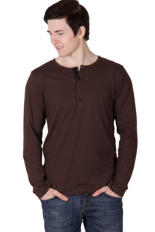 RIGO Solid Brown Casual Henley Full sleeve T-Shirts