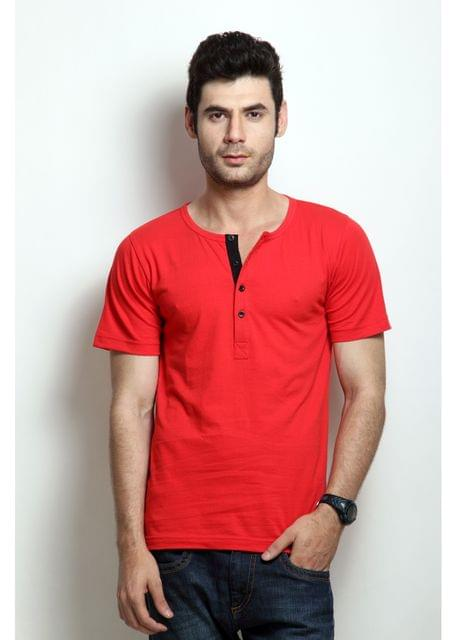 RIGO Solid Red Casual Henley Half sleeves T-Shirts