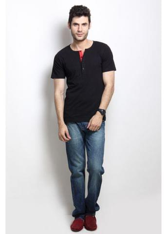 RIGO Solid Black Casual Henley Half sleeves T-Shirts