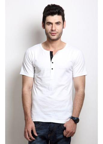 RIGO Solid White Casual Henley Half sleeves T-Shirts