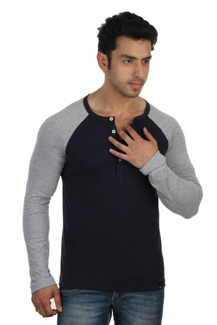 RIGO Solid Blue Casual Henley Full sleeve T-Shirts