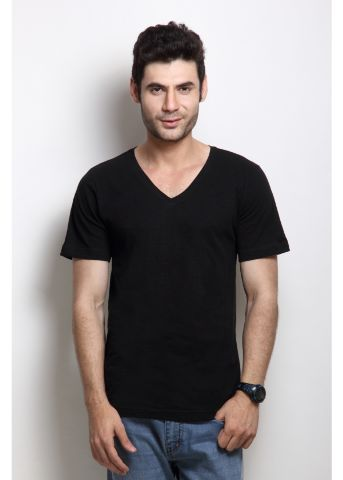 Solid Black Casual V Neck Half sleeves T-Shirts