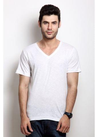 Solid White Casual V Neck Half sleeves T-Shirts