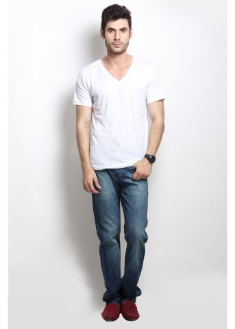 RIGO Solid White Casual V Neck Half sleeves T-Shirts