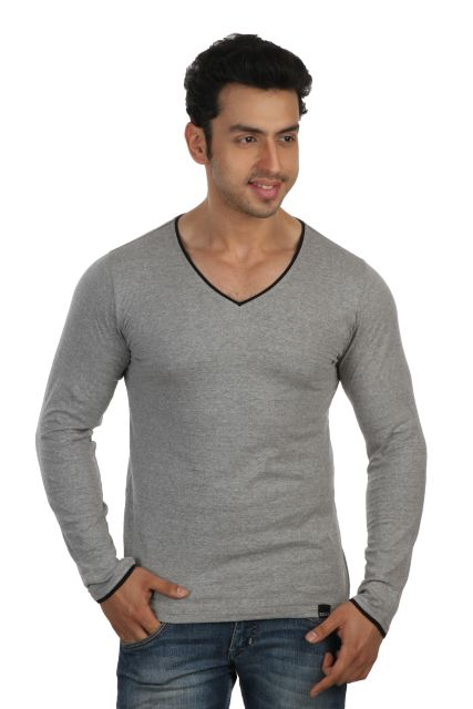RIGO Solid Grey Casual V Neck Full sleeve T-Shirts