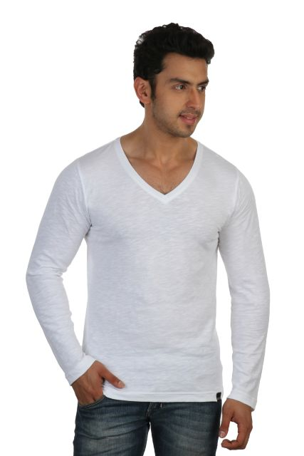 RIGO Solid White Casual V Neck Full sleeve T-Shirts