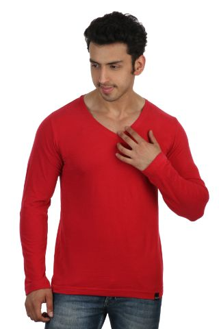 RIGO Solid Red Casual V Neck Full sleeve T-Shirts