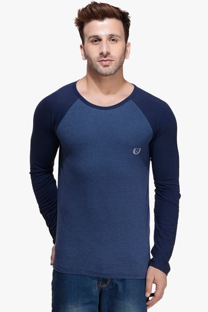 Blue Melange Raglan Full Sleeve Round Neck Tee