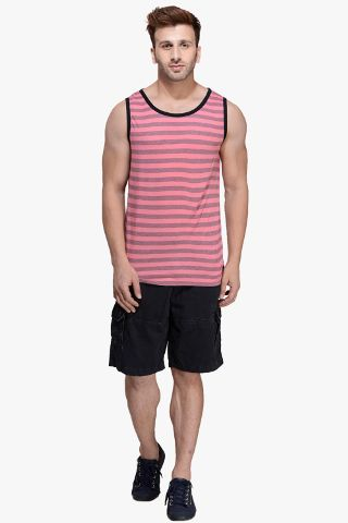 Magenta Striped Viscose Sleeveless Scoop neck Slim-Fit Vest