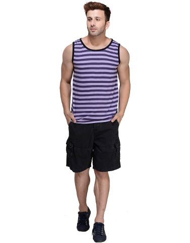 Purple Striped Viscose Sleeveless Scoop neck Slim-Fit Vest