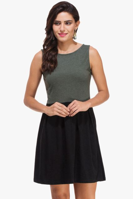 Bottle Green Melange and Black Knitted Dress