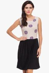 Beige Printed and Black Knitted Dress